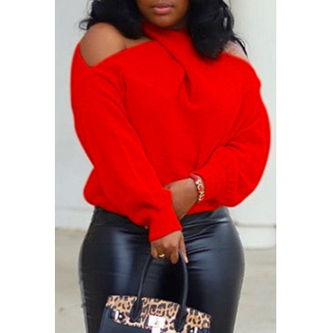 Lovely Casual Sweater Cross-over Design Red Size S To XXL