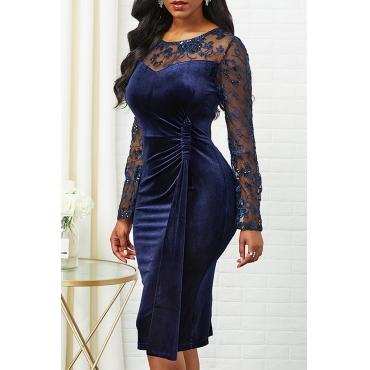 Lovely Sweet O Neck Patchwork Dark Blue Knee Length Dress