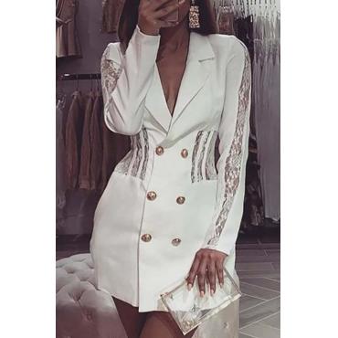 Lovely Work Turn-back Collar Patchwork White Mini Dress