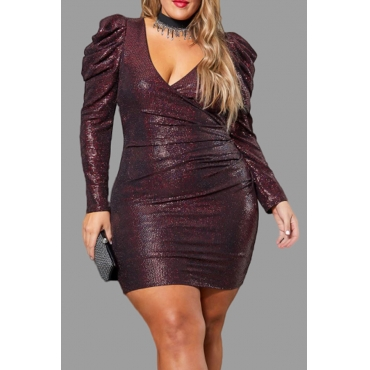 Lovely Casual V Neck Wine Red Plus Size Mini Dress