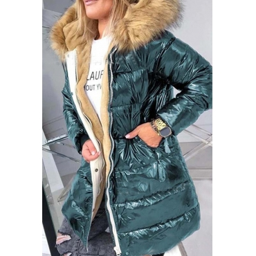 Lovely Winter V Neck Green Coat