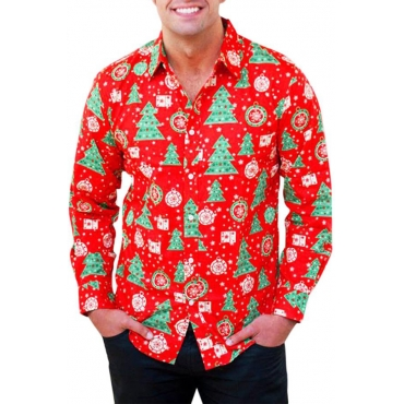 Lovely Casual Santa Claus Printed Red Shirt