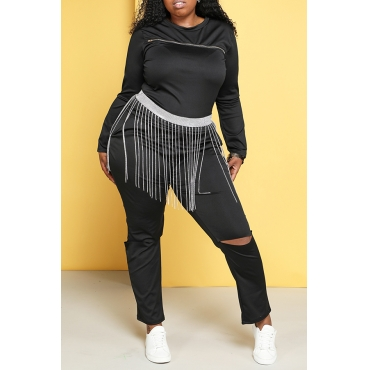 Lovely Trendy Hollow-out Black Plus Size Two-piece Pants Set