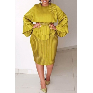 Lovely Casual O Neck Ruffle Design Yellow Knee Length Dress