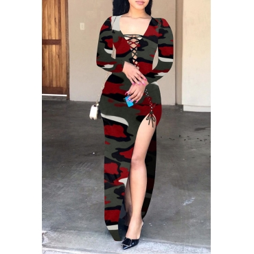 Lovely Trendy Bandage Design Camouflage Printed Wine Red Floor Length Dress