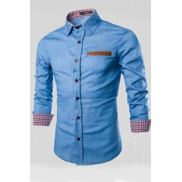 Lovely Casual Patchwork Printed Baby Blue Shirt