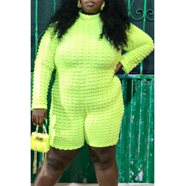 Lovely Casual Basic Yellow Plus Size One-piece Romper