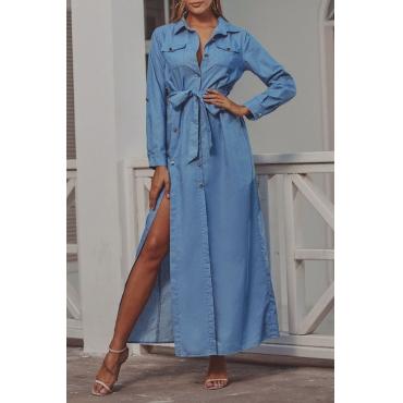 Lovely Casual Side High Slit Blue Ankle Length Dress