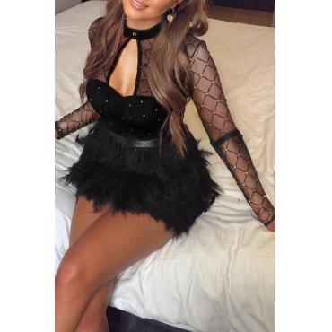 Lovely Sweet O Neck See-through Black Mini Prom Dress
