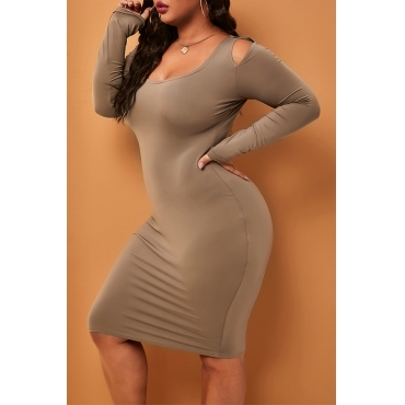 Lovely Casual Dew Shoulder Coffee Knee Length Plus Size Dress
