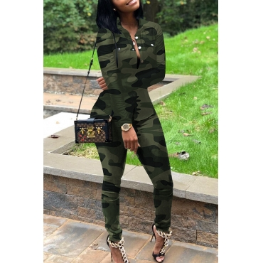 Lovely Casual Turndown Collar Printed Green Two-piece Pants Set