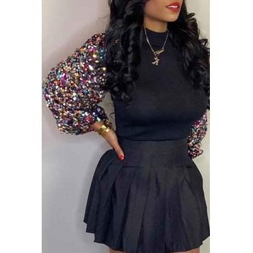 Lovely Trendy Patchwork Black Blouse