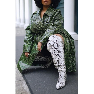 Lovely Casual Turndown Collar Printed Army Green Plus Size Coat