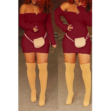 Lovely Casual Off The Shoulder Skinny Wine Red Mini Dress
