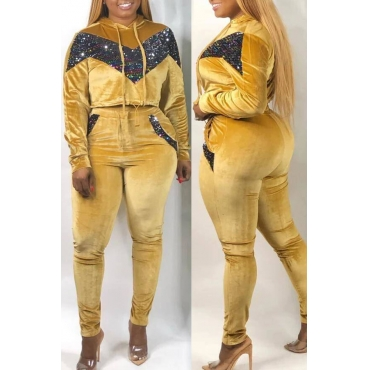 Lovely Casual Patchwork Yellow Plus Size Two-piece Pants Set