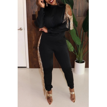 Lovely Party Tassel Design Black Two-piece Pants Set