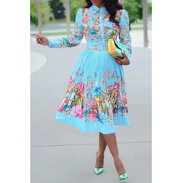 Lovely Leisure Floral Printed Baby Blue Mid Calf Plus Size Dress