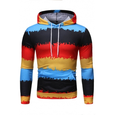Lovely Trendy Color-lump Printed Multicolor Hoodie