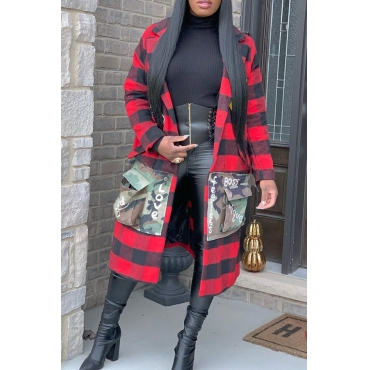 Lovely Casual Letter Printed Red Coat