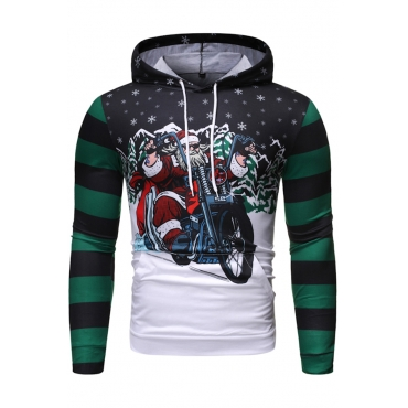 Lovely Casual Hooded Collar Printed Green Hoodie