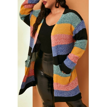 Lovely Casual Striped Multicolor Plus Size Coat