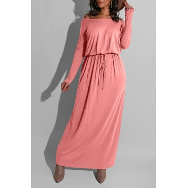 Lovely Casual Loose Pink Ankle Length Dress
