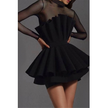 Lovely Party Layered Black Mini Evening Dress