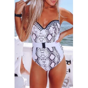 Lovely Printed White One-piece Swimwear