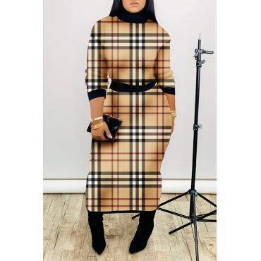 Lovely Casual Turtleneck Plaid Khaki Two-piece Skirt Set