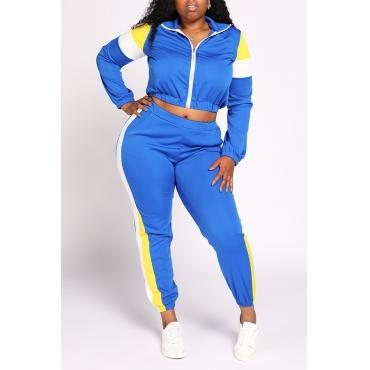 Lovely Casual Color-lump Patchwork Blue Plus Size Two-piece Pants Set