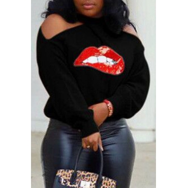 Lovely Chic Halter Lip Printed Black Sweater
