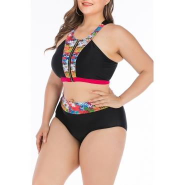 Lovely Patchwork Black Plus Size Two-piece Swimwear
