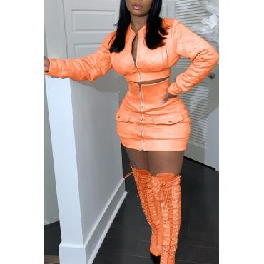 Lovely Casual Zipper Design Croci Two-piece Skirt Set