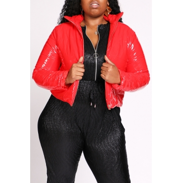 Lovely Casual Turndown Collar Red Plus Size Coat