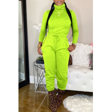 Lovely Casual Turtleneck Basic Green Two-piece Pants Set