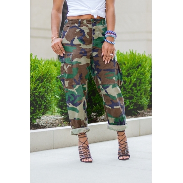 Lovely Casual Camo Printed Loose Pants
