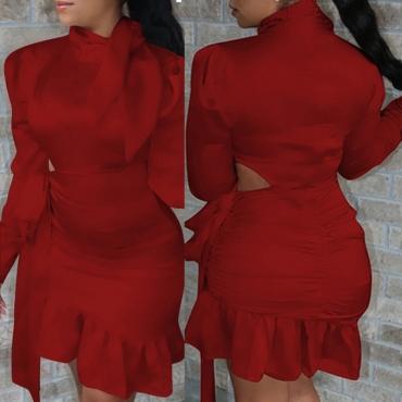 Lovely Sweet Flounce Design Red Knee Length Dress