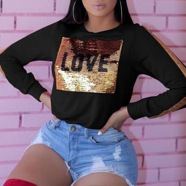 Lovely Casual Sequin Black Sweatshirt Hoodie