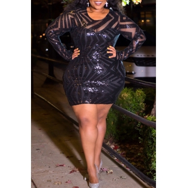 Lovely Casual O Neck Patchwork Black Plus Size Mini Dress