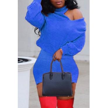 Lovely Leisure Turtleneck Dew Shoulder Royal Blue Mini Dress