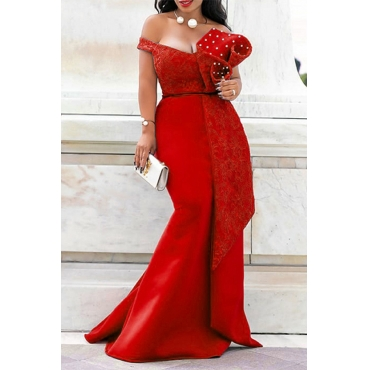 Lovely Party Ruffle Design Red Trailing Evening Dress