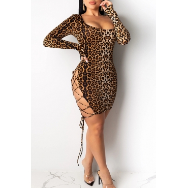 Lovely Sexy Hollow-out Leopard Brown Mini Dress