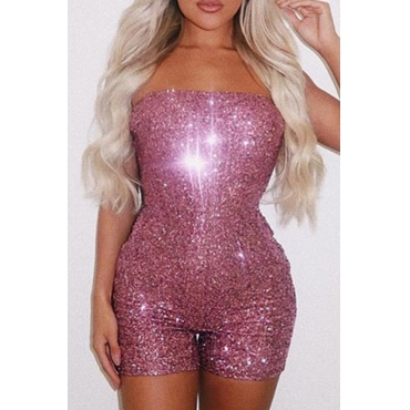 Lovely Sexy Dew Shoulder Sequin Rose Red One-piece Romper