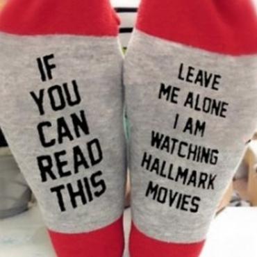 Lovely Christmas Day Letter Grey Socks