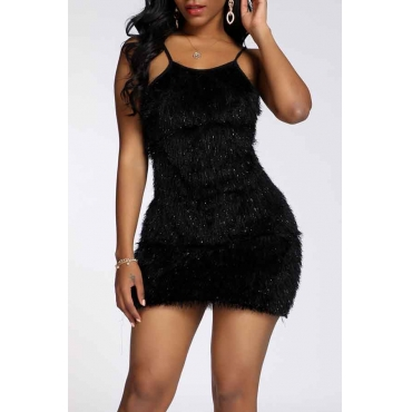 Lovely Party Spaghetti Straps Black Mini Prom Dress