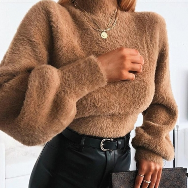 Lovely Trendy Turtleneck Brown Sweater