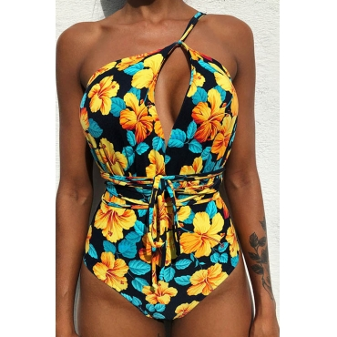 Lovely Floral Yellow One-piece Swimwear