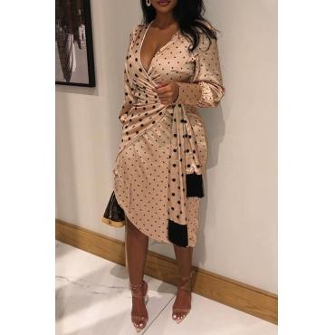 Lovely Sweet Dot Champagne Knee Length Dress