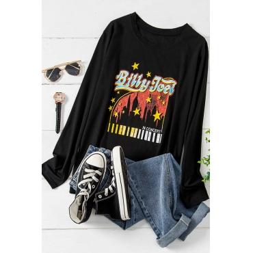 Lovely Leisure Print Black Plus Size T-shirt
