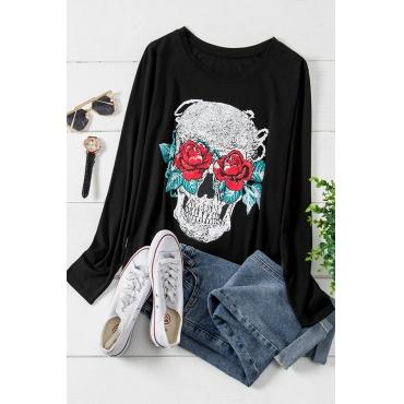 Lovely Trendy Skull Print Black Plus Size T-shirt